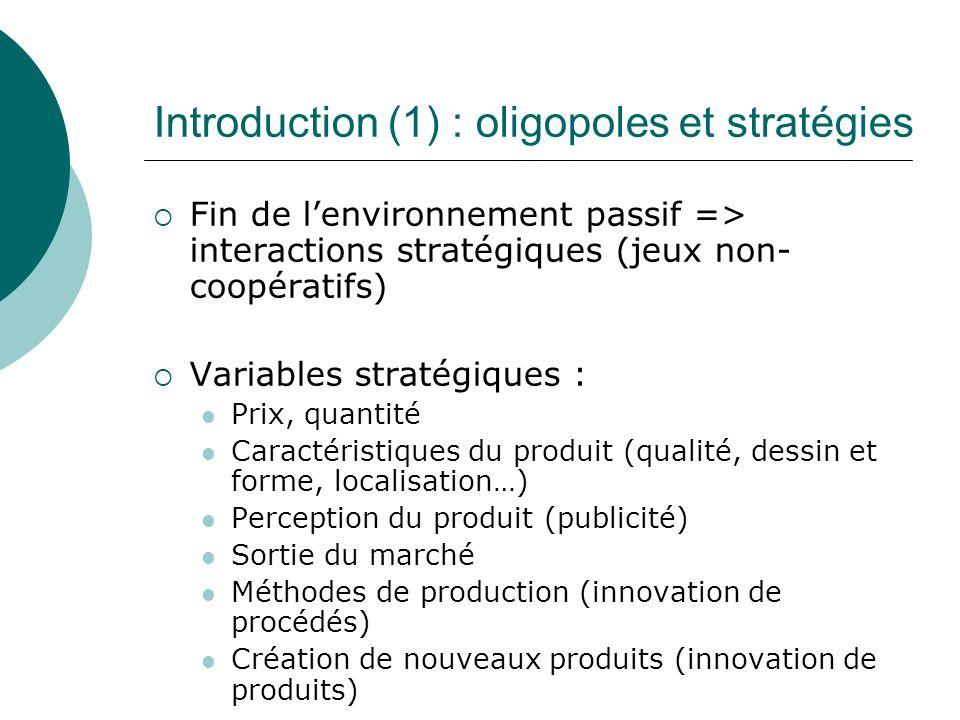 Introduction (1) : oligopoles et stratégies