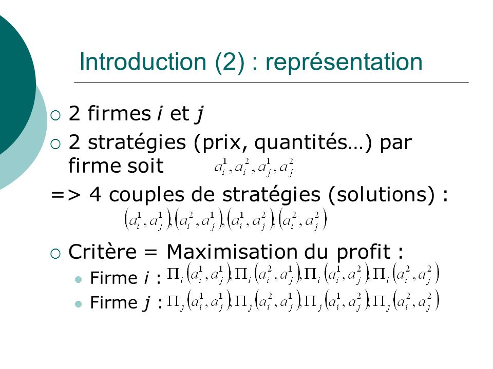Introduction (2) : représentation