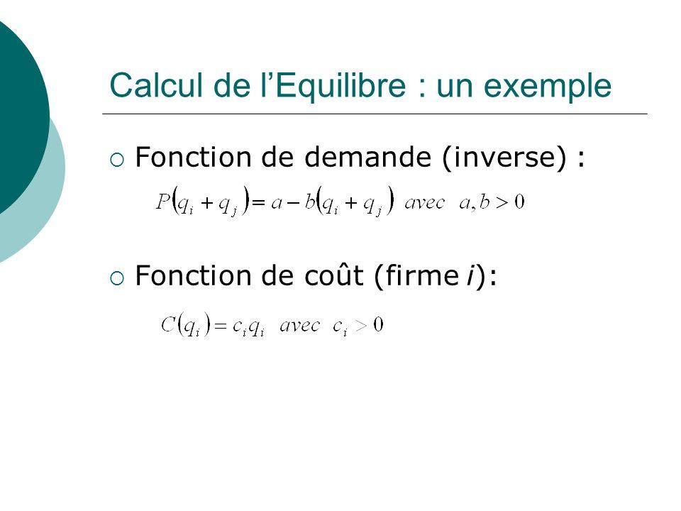 Calcul de l'Equilibre : un exemple