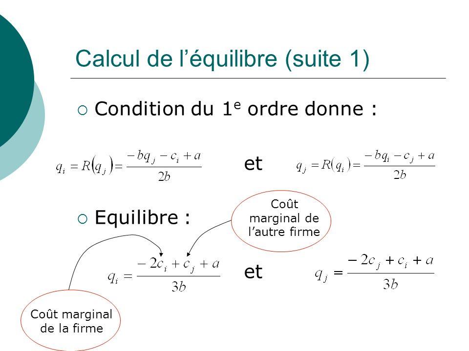 Calcul de l'équilibre (suite 1)