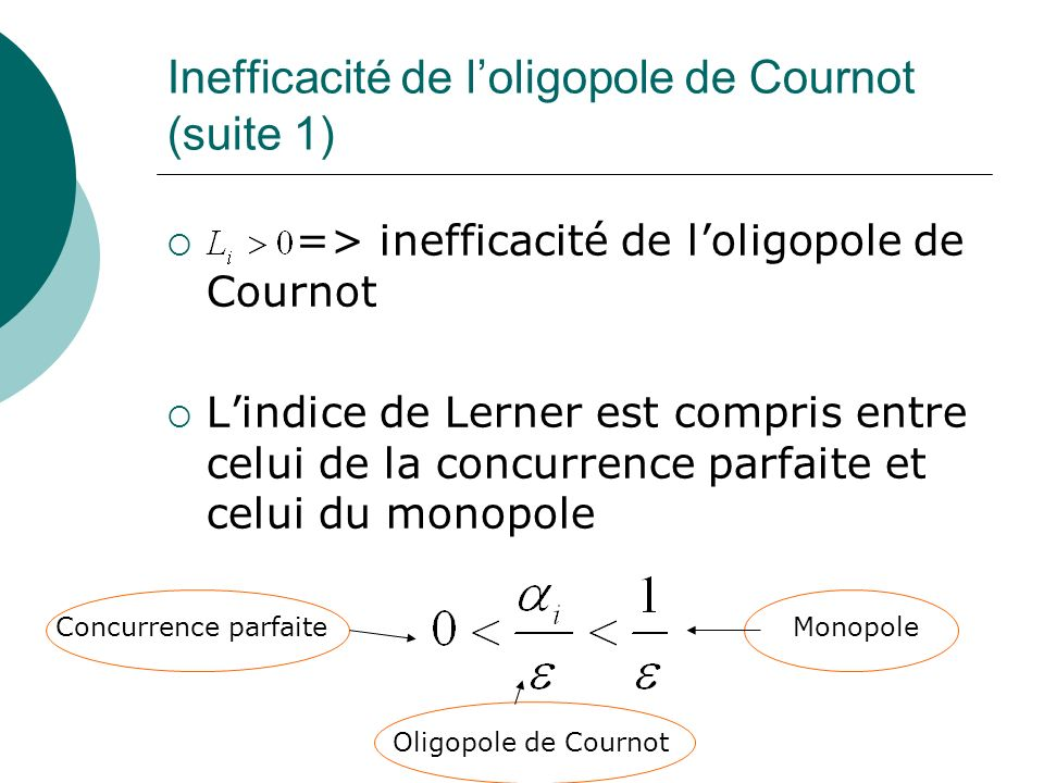 Inefficacité de l'oligopole de Cournot (suite 1)