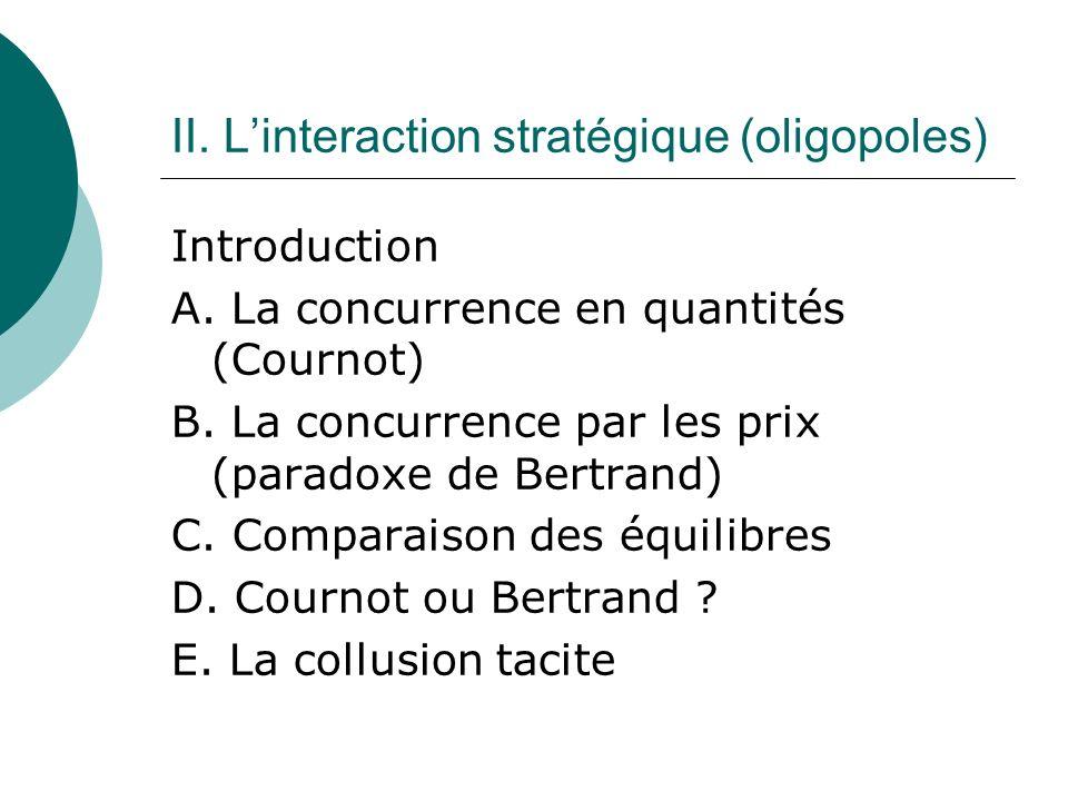 II. L'interaction stratégique (oligopoles)