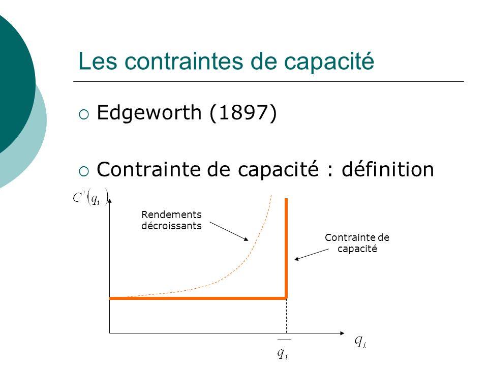 Les contraintes de capacité