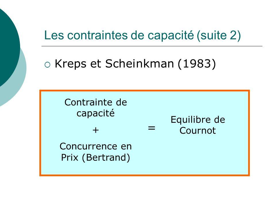 Les contraintes de capacité (suite 2)