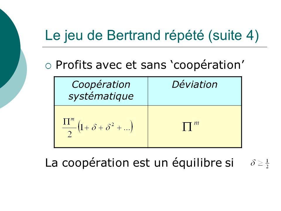 Le jeu de Bertrand répété (suite 4)