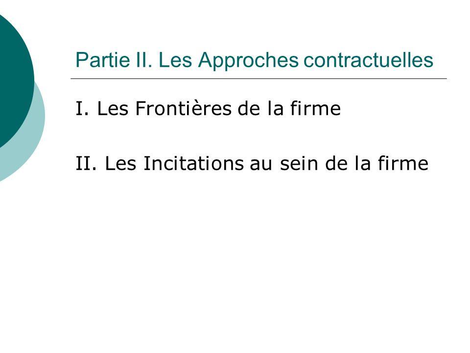Partie II. Les Approches contractuelles