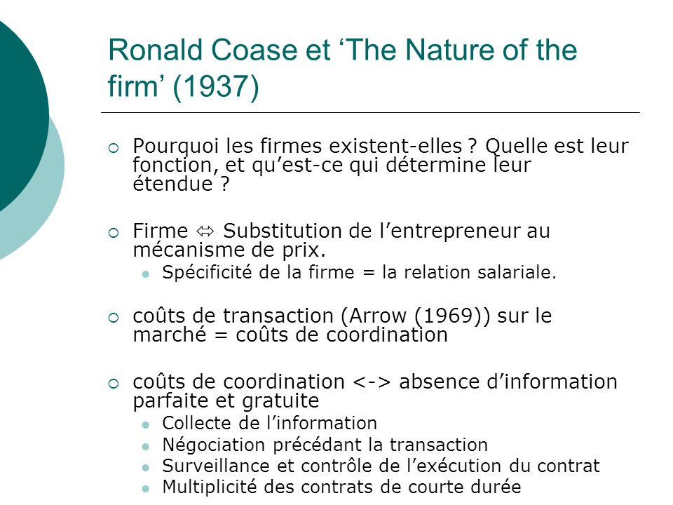 Ronald Coase et 'The Nature of the firm' (1937)