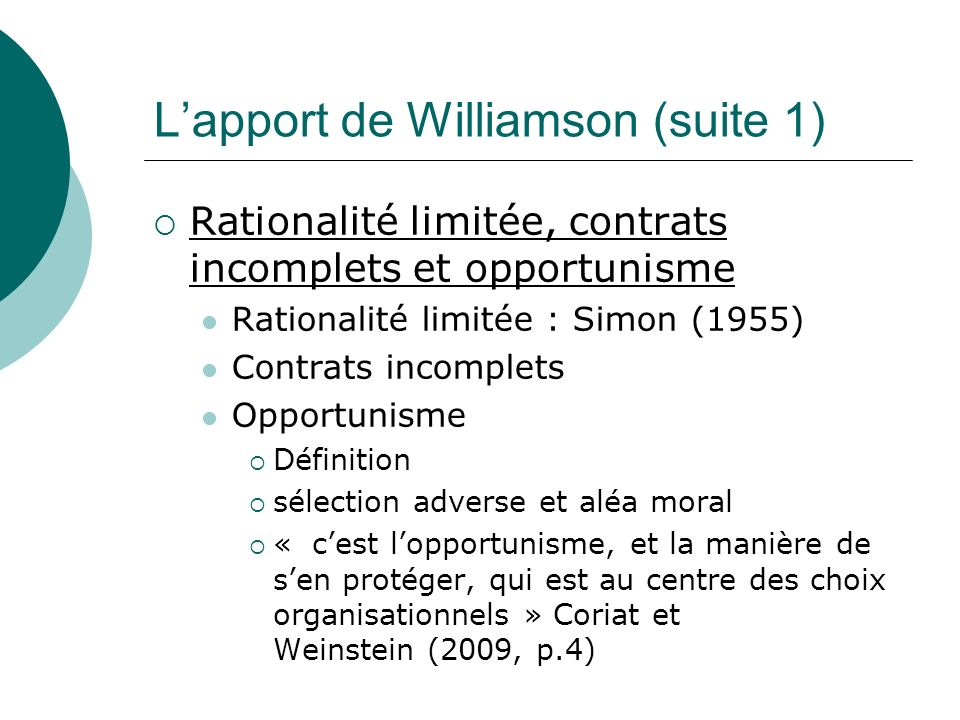 L'apport de Williamson (suite 1)
