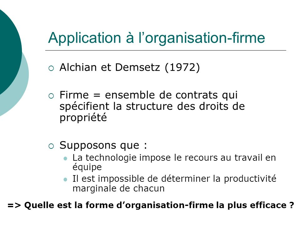 Application à l'organisation-firme