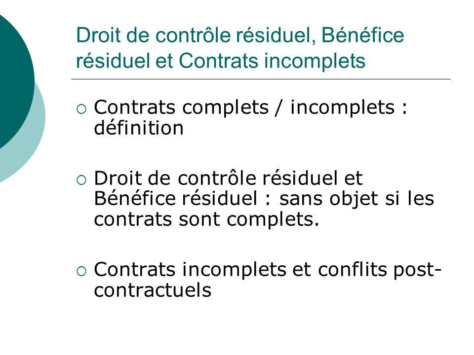 Droit de contrôle résiduel, Bénéfice résiduel et Contrats incomplets