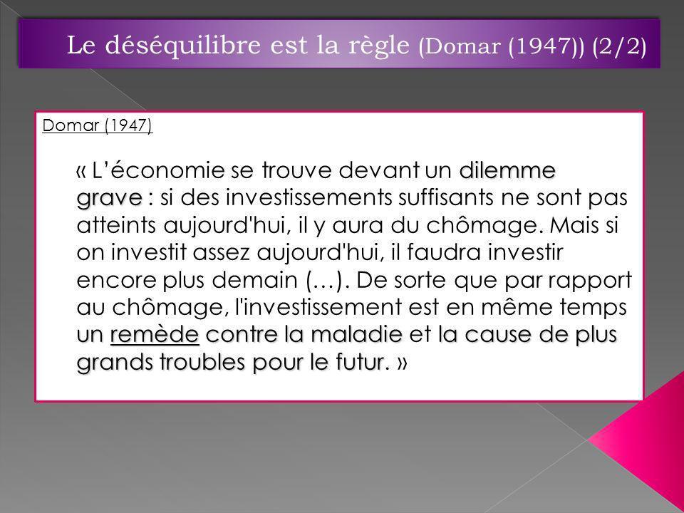 Le déséquilibre est la règle (Domar (1947)) (2/2)