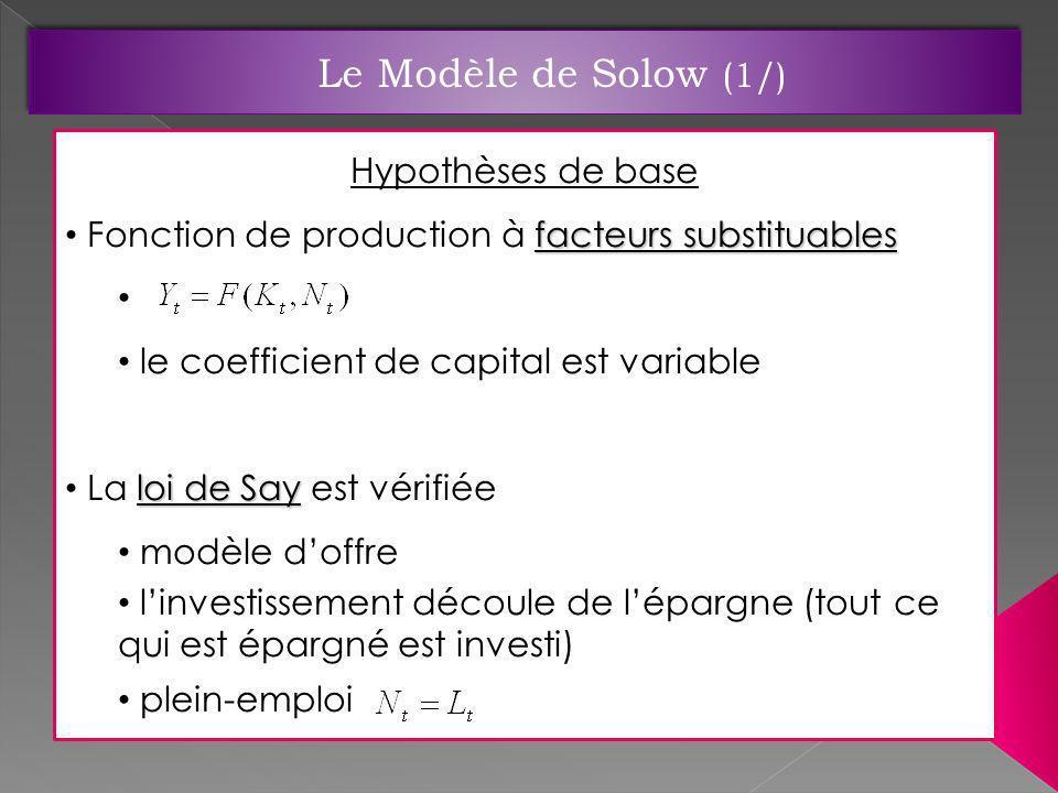 Le Modèle de Solow (1/) Hypothèses de base