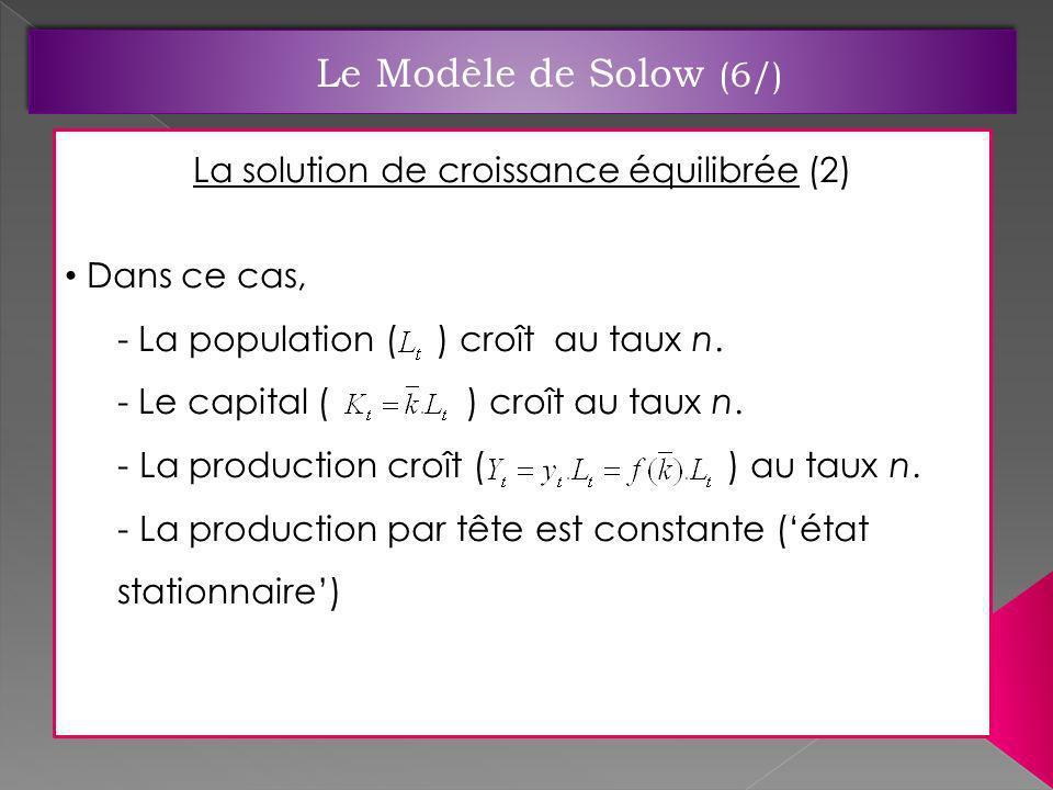 La solution de croissance équilibrée (2)