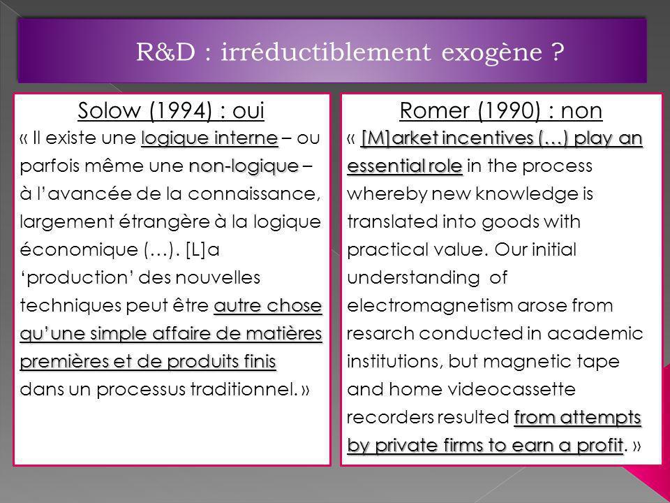 R&D : irréductiblement exogène