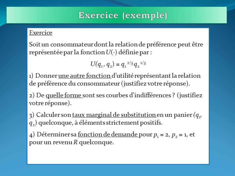 Exercice (exemple) Exercice