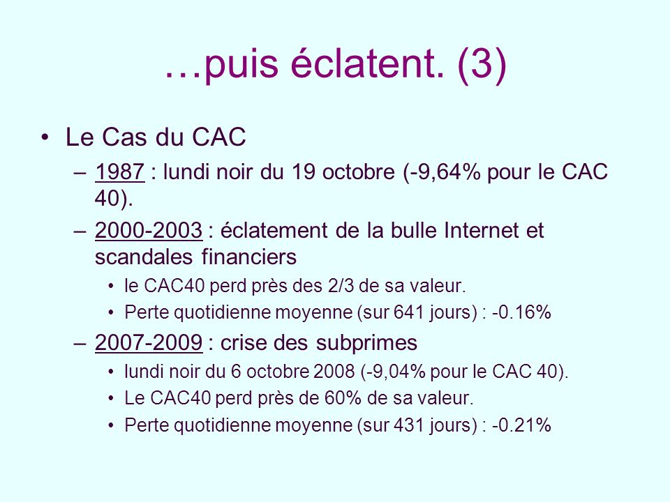 …puis éclatent. (3) Le Cas du CAC