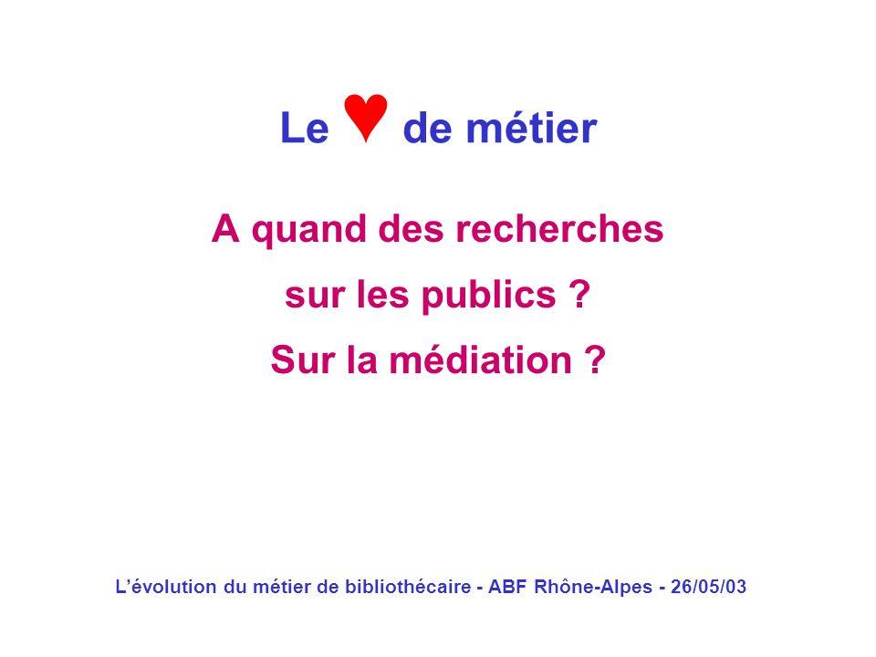 L'évolution du métier de bibliothécaire - ABF Rhône-Alpes - 26/05/03