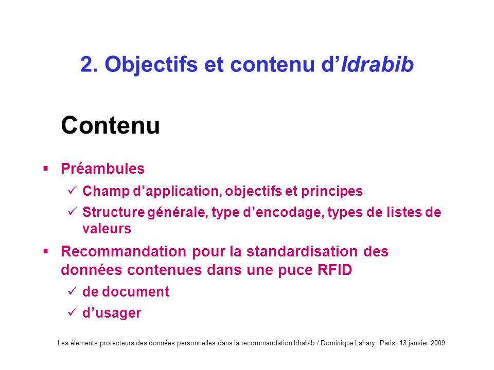2. Objectifs et contenu d'Idrabib
