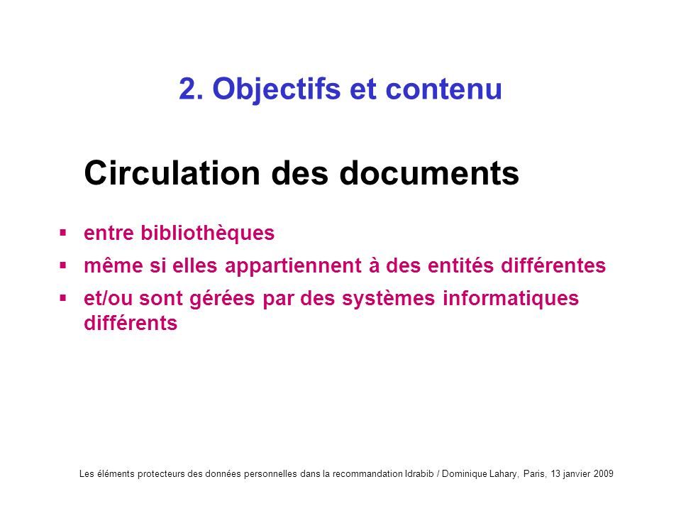 Circulation des documents