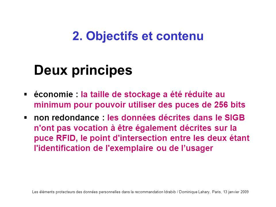 Deux principes 2. Objectifs et contenu