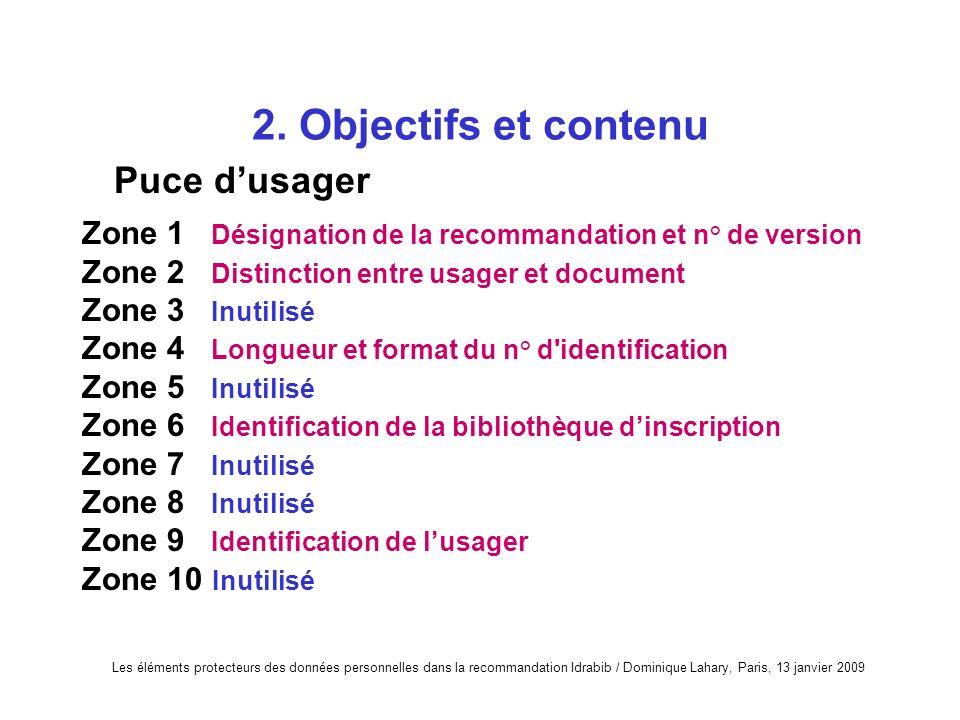 2. Objectifs et contenu Puce d'usager