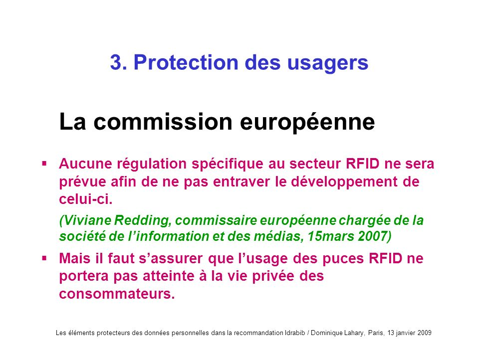 3. Protection des usagers