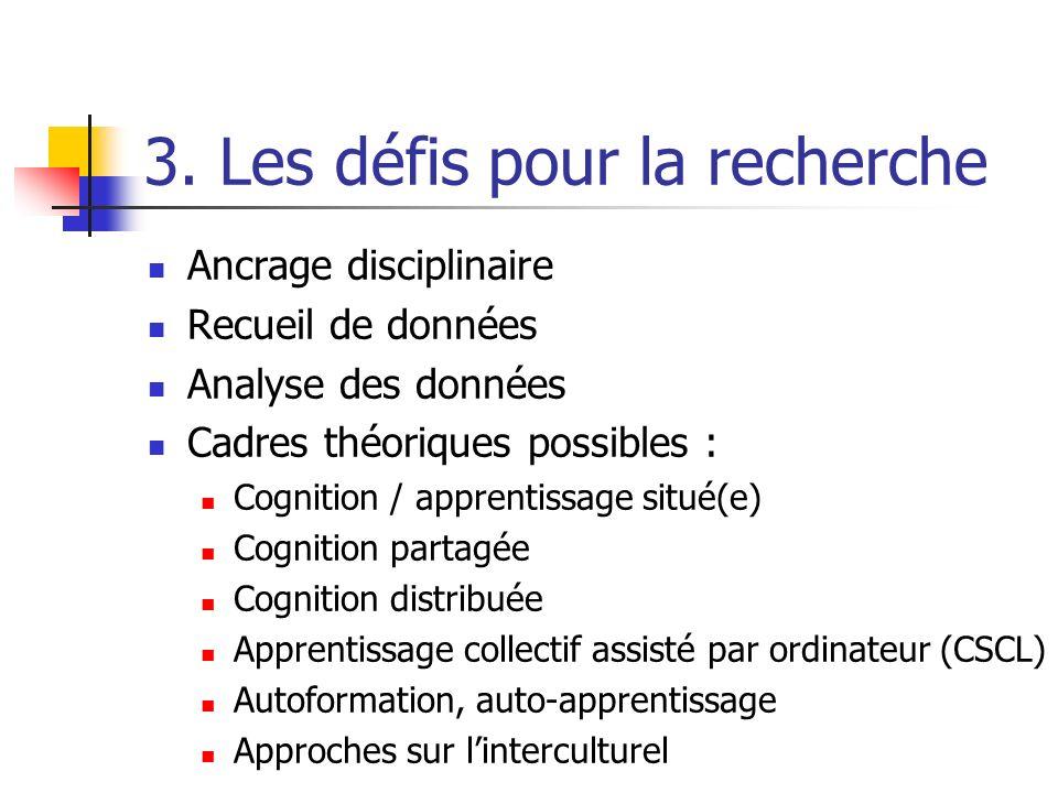 3. Les défis pour la recherche