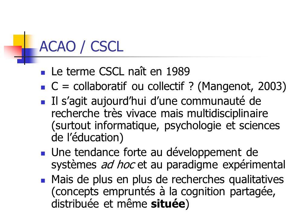 ACAO / CSCL Le terme CSCL naît en 1989