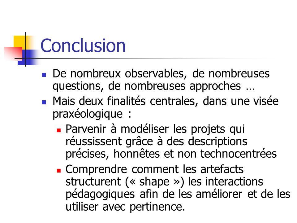 Conclusion De nombreux observables, de nombreuses questions, de nombreuses approches … Mais deux finalités centrales, dans une visée praxéologique :
