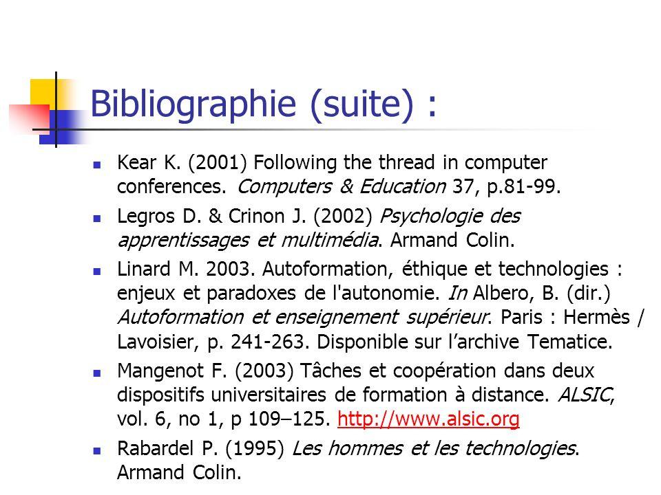 Bibliographie (suite) :