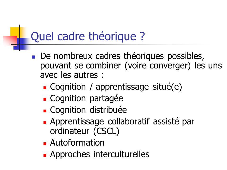 Quel cadre théorique De nombreux cadres théoriques possibles, pouvant se combiner (voire converger) les uns avec les autres :