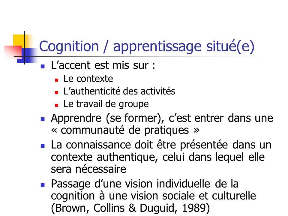 Cognition / apprentissage situé(e)