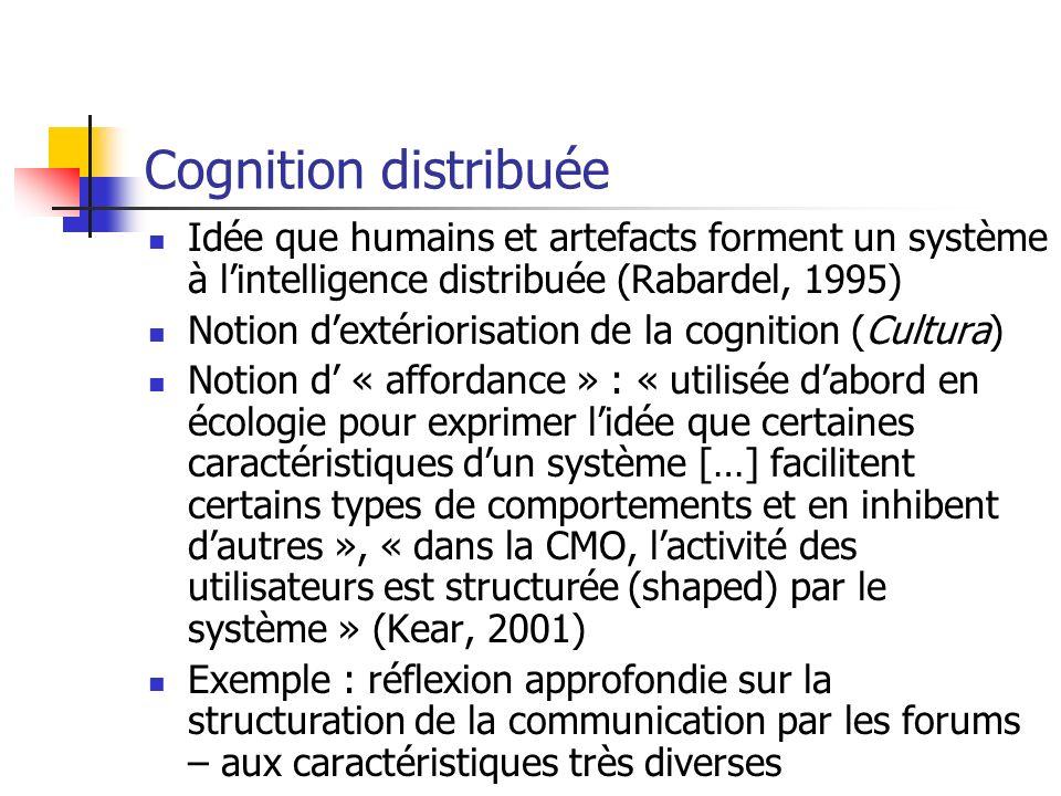 Cognition distribuée Idée que humains et artefacts forment un système à l'intelligence distribuée (Rabardel, 1995)