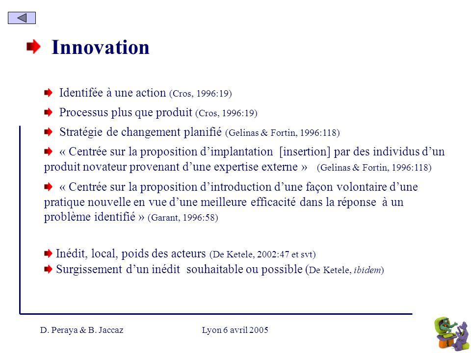 Innovation Identifée à une action (Cros, 1996:19)