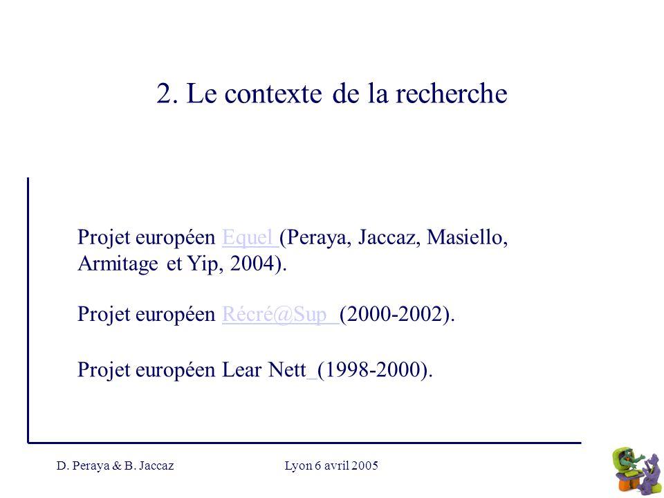 2. Le contexte de la recherche