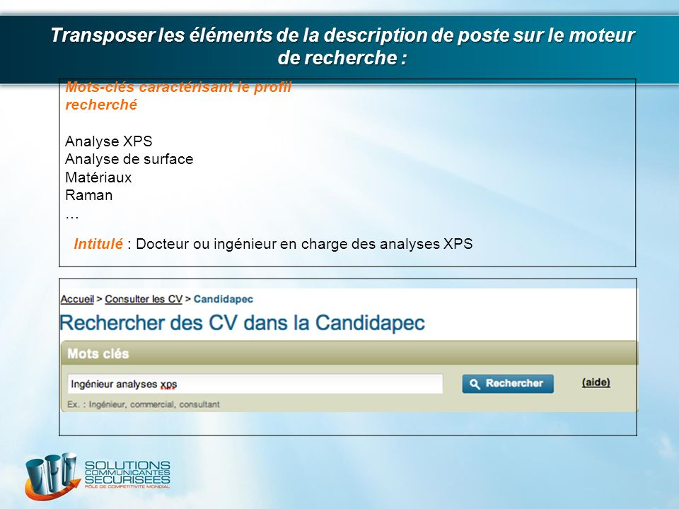 Transposer les éléments de la description de poste sur le moteur de recherche :