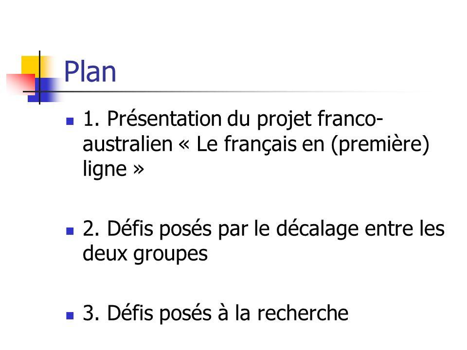 Plan 1. Présentation du projet franco-australien « Le français en (première) ligne » 2. Défis posés par le décalage entre les deux groupes.