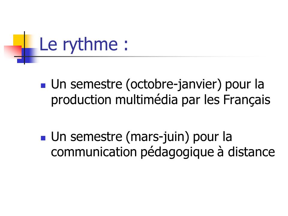 Le rythme : Un semestre (octobre-janvier) pour la production multimédia par les Français.