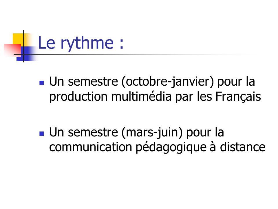 Le rythme :Un semestre (octobre-janvier) pour la production multimédia par les Français.