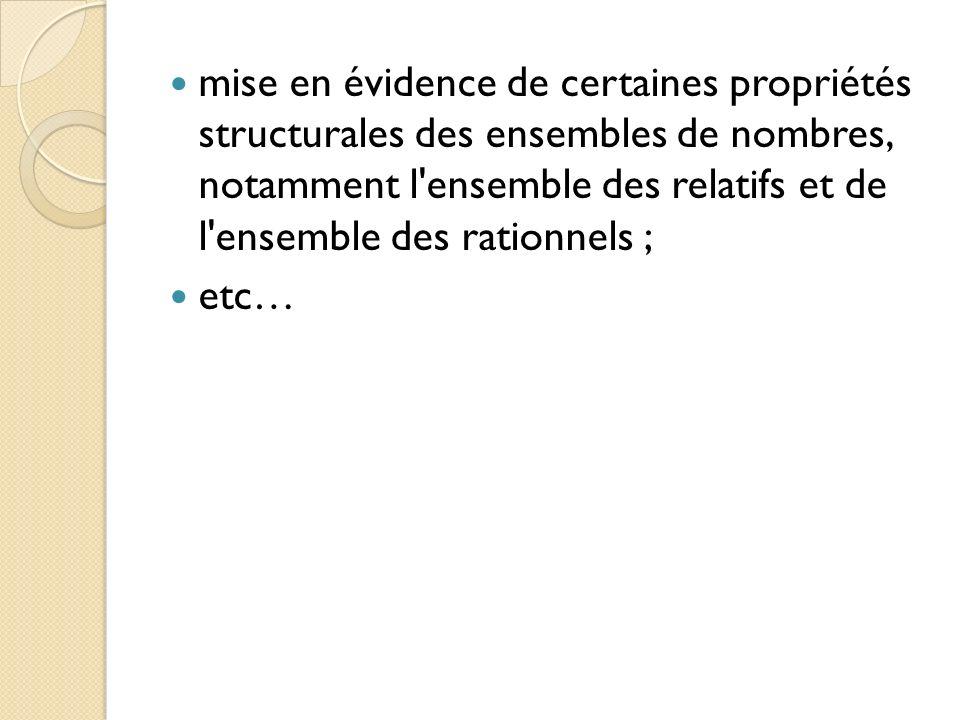 mise en évidence de certaines propriétés structurales des ensembles de nombres, notamment l ensemble des relatifs et de l ensemble des rationnels ;