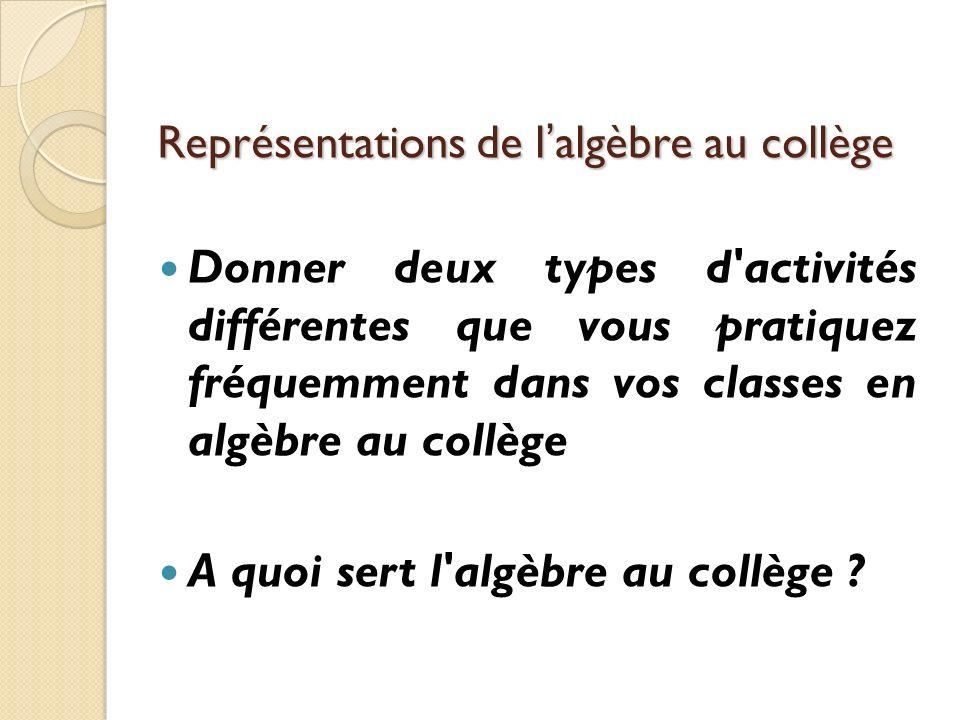 Représentations de l'algèbre au collège