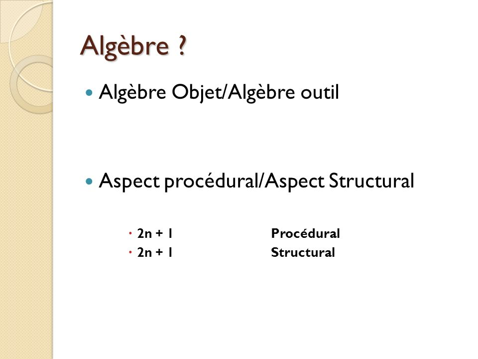 Algèbre Algèbre Objet/Algèbre outil