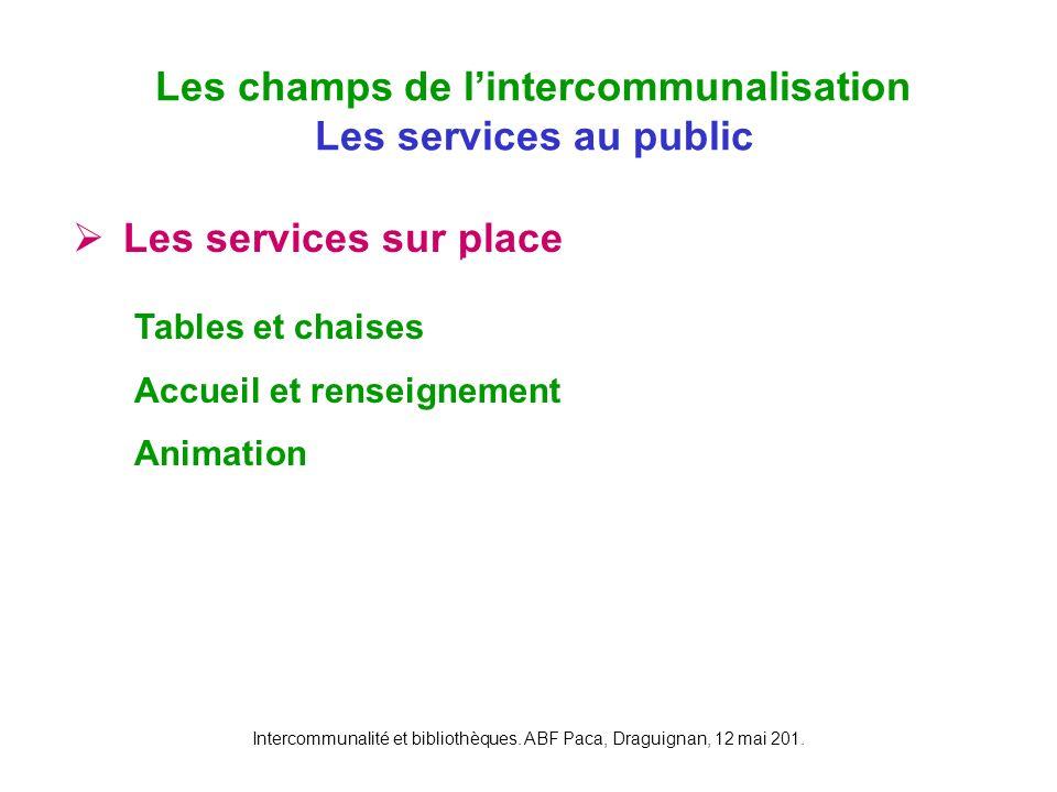 Les champs de l'intercommunalisation Les services au public