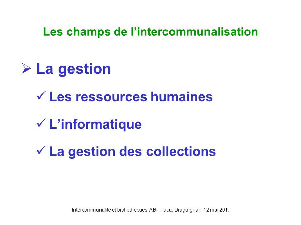 Les champs de l'intercommunalisation
