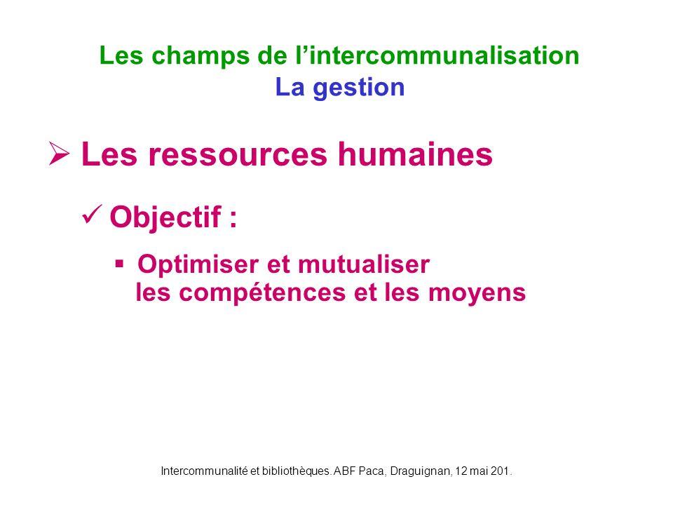 Les champs de l'intercommunalisation La gestion