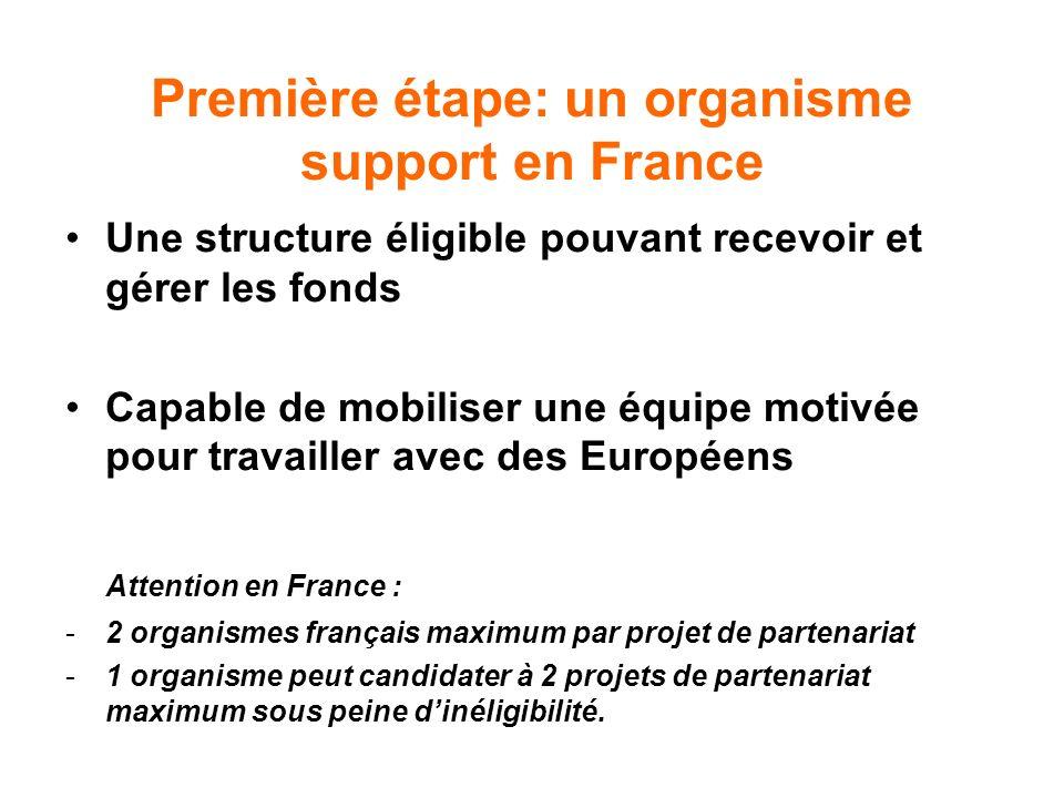 Première étape: un organisme support en France