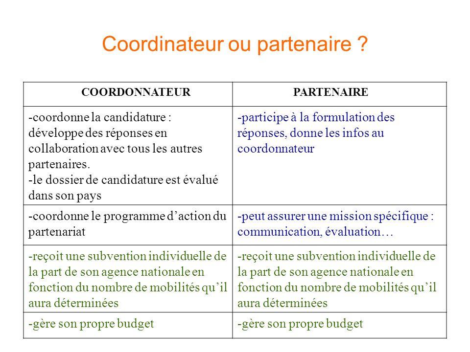 Coordinateur ou partenaire