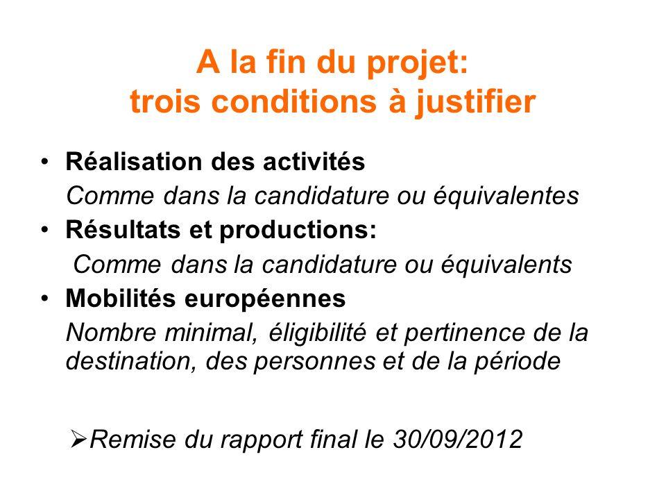 A la fin du projet: trois conditions à justifier