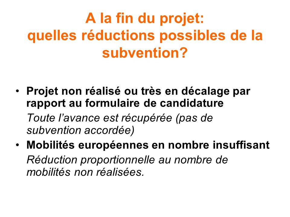 A la fin du projet: quelles réductions possibles de la subvention