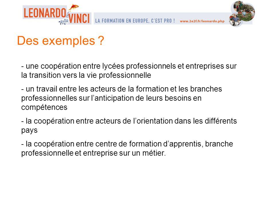 Des exemples - une coopération entre lycées professionnels et entreprises sur la transition vers la vie professionnelle.